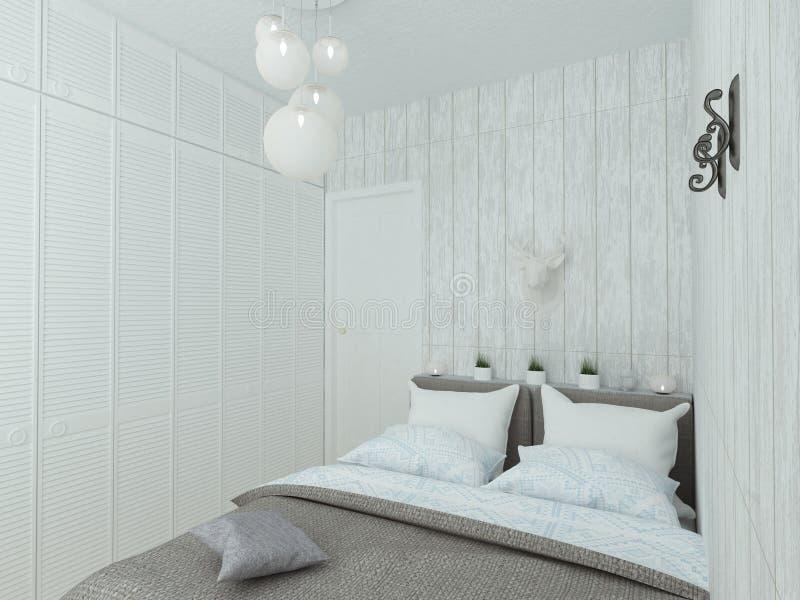 Litet tomt sovrum med vit säng royaltyfri illustrationer