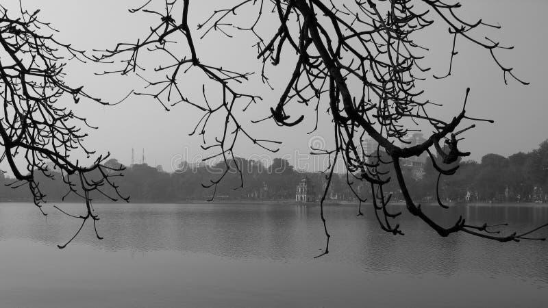 Litet torn på den ensamma ön i mitt av vintern royaltyfri bild