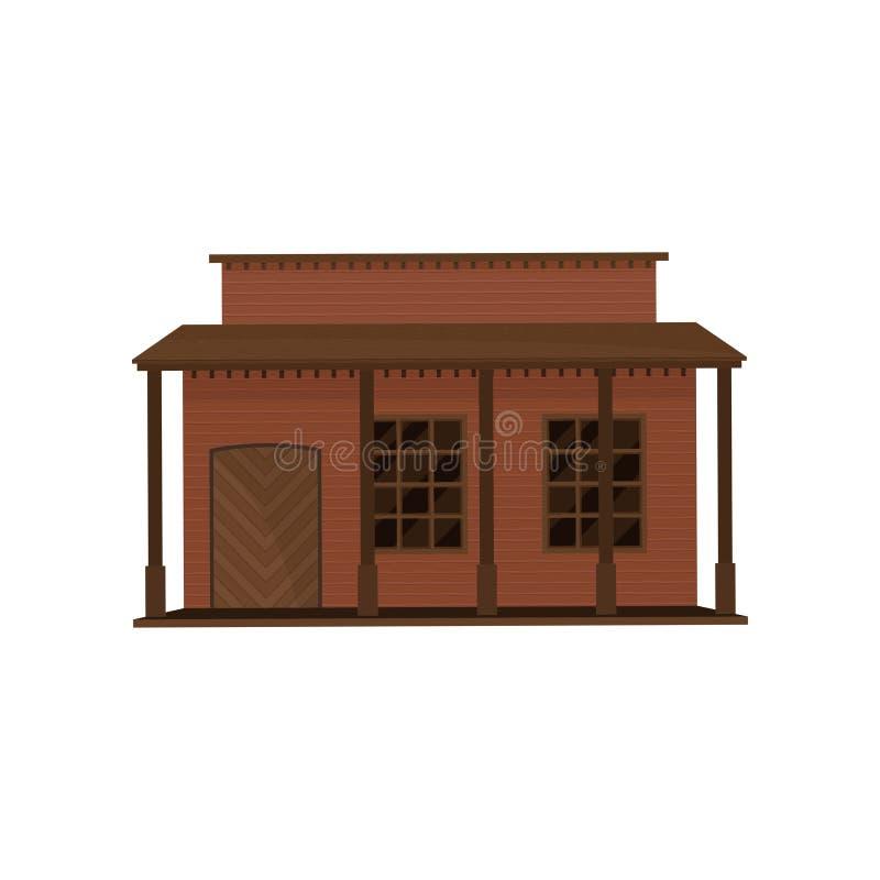 Litet västra hus med den trädörren och farstubron Gammal träbyggnad Arkitektur av den gamla västra staden Plan vektordesign royaltyfri illustrationer