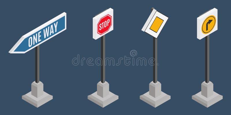 Litet val av isometriskt trafiktecken royaltyfri illustrationer