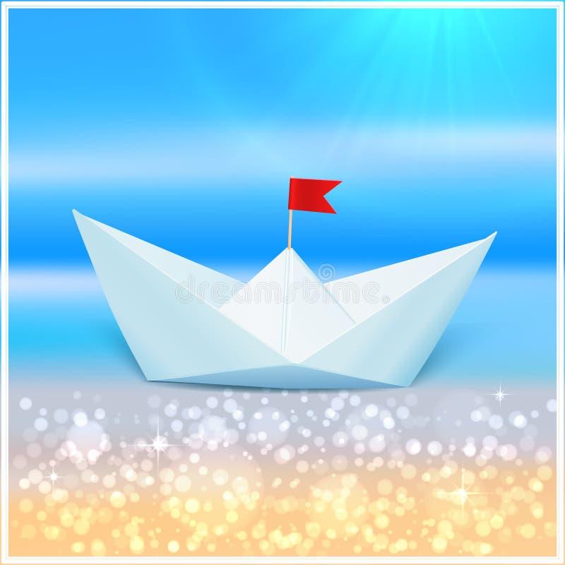 Litet vektorpappersfartyg i ett blått hav stock illustrationer