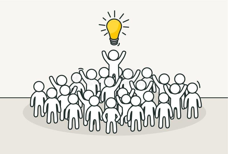 Litet vitt folk med den idérika ledaren Idérik idé, inspirationbegrepp stock illustrationer
