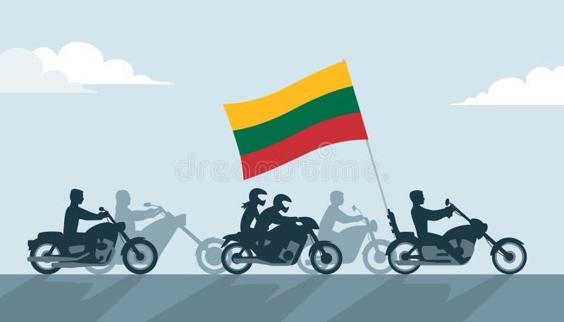 Litewscy rowerzyści na motocyklach z flaga państowowa royalty ilustracja