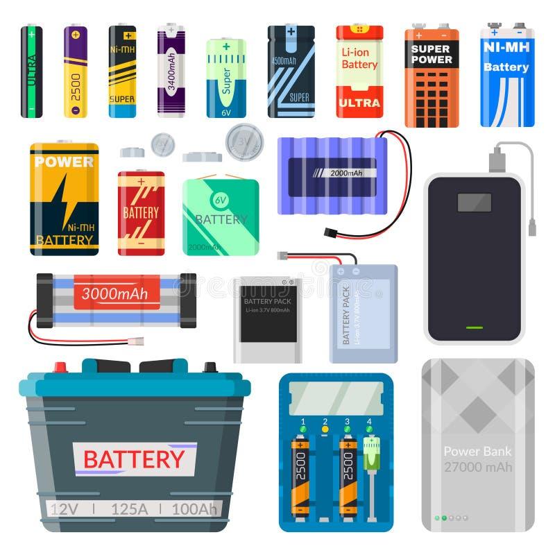 Lithium batteries set royalty free illustration