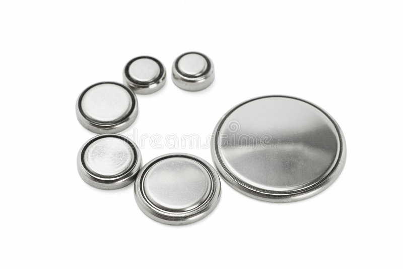 Lithium batteries of various sizes stock photos