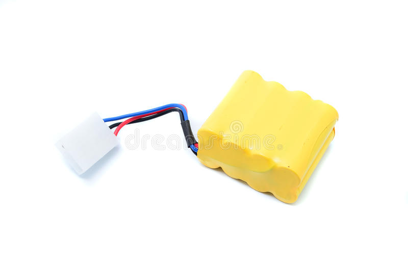 Lithium-ion polymer rechargeable battery (abbreviated as LiPo, LIP, Li-poly). With balancing and main power plugs. LiPo batteries are used in portable royalty free stock image