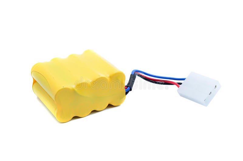 Lithium-ion polymer rechargeable battery. (abbreviated as LiPo, LIP, Li-poly) with balancing and main power plugs. LiPo batteries are used in portable royalty free stock image