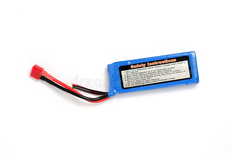 Lithium polymer battery or also called as LiPo with balancing and main power plugs. Usualy used for RC car or plane or another electronic hobby stock image
