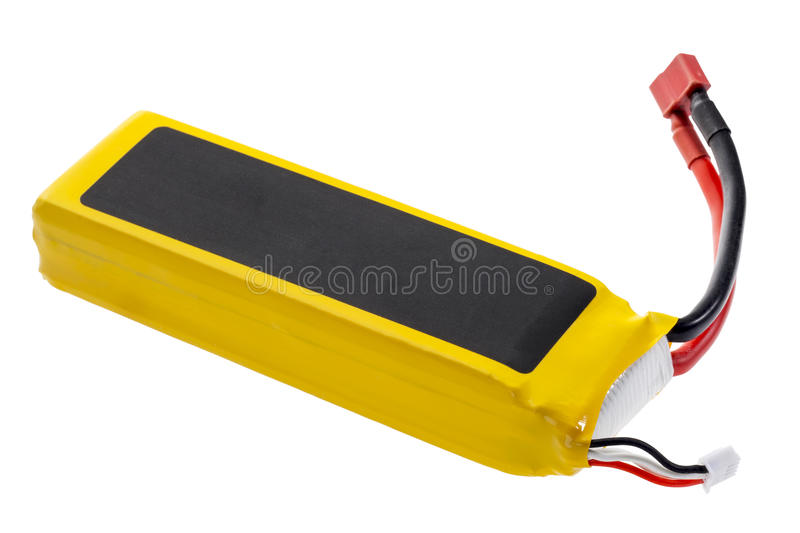 Lithium polymer battery. Lithium-ion polymer rechargeable battery (abbreviated as LiPo, LIP, Li-poly) with balancing and main power plugs. LiPo batteries are stock photo