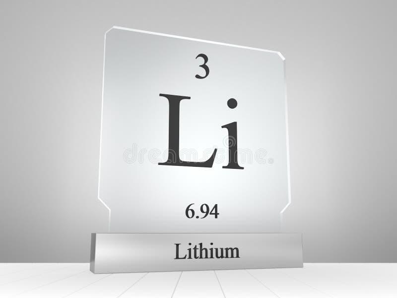 Lithiumsymbool op modern glas en metaalpictogram royalty-vrije illustratie