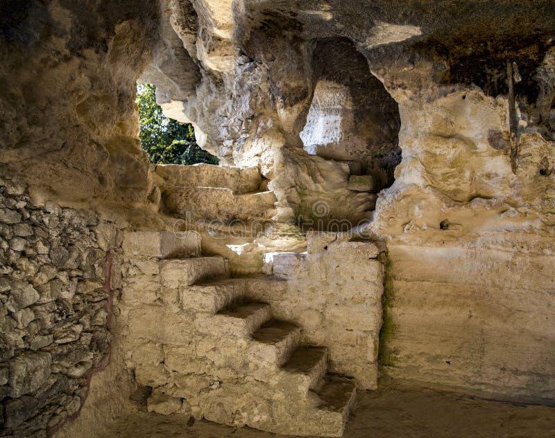 Caves of rocky monastery of Aladzha, Bulgaria. stock photo