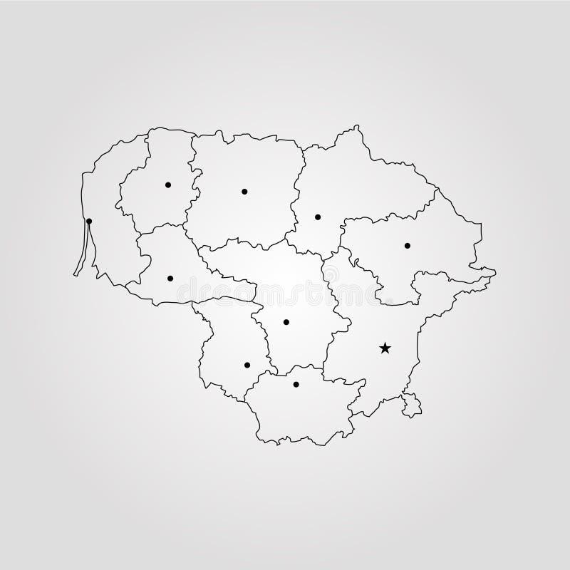 lithuania översikt royaltyfri illustrationer