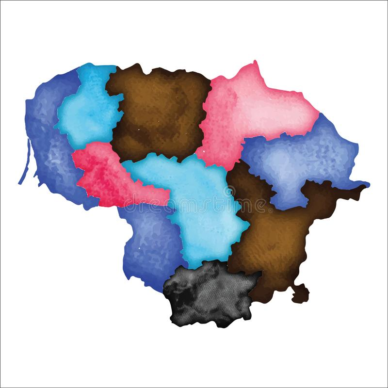lithuania översikt Färgglad vattenfärg Litauen vektor illustrationer