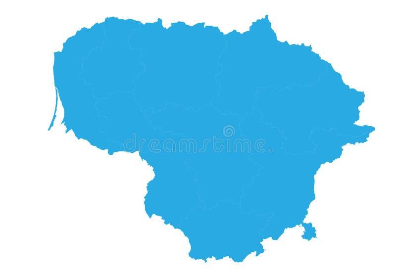 lithuania översikt Hög detaljerad vektoröversikt - Litauen vektor illustrationer