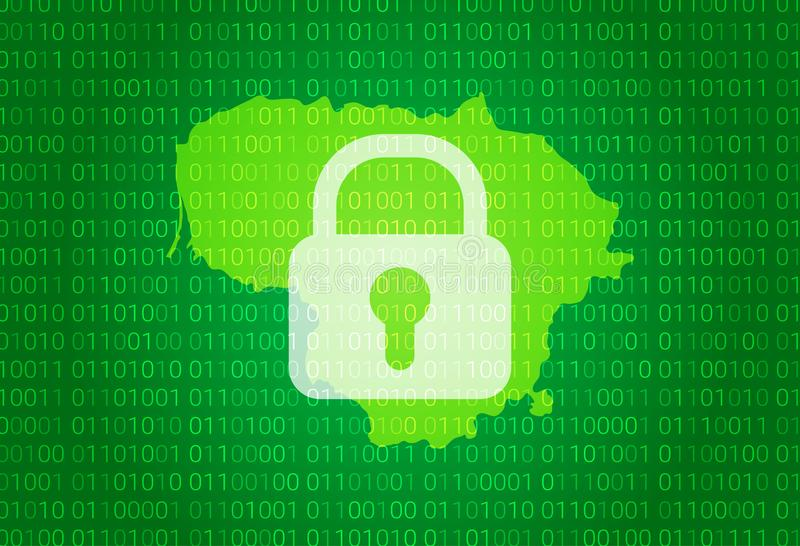 lithuania översikt illustration med bakgrund för lås och för binär kod internet som blockerar, virusattack, avskildhet skyddar vektor illustrationer
