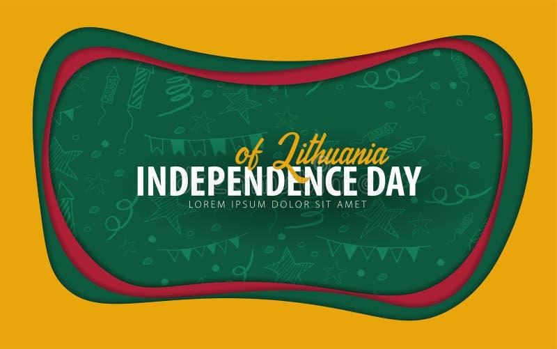 lithuania Cartolina d'auguri di festa dell'indipendenza stile del taglio della carta illustrazione vettoriale