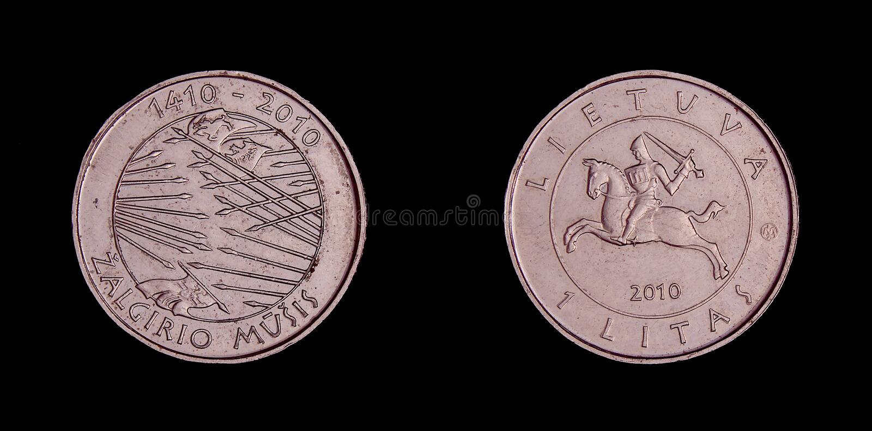 Lithuania coin 1 Litas with commemorative.of Zalgirio musis royalty free stock photography