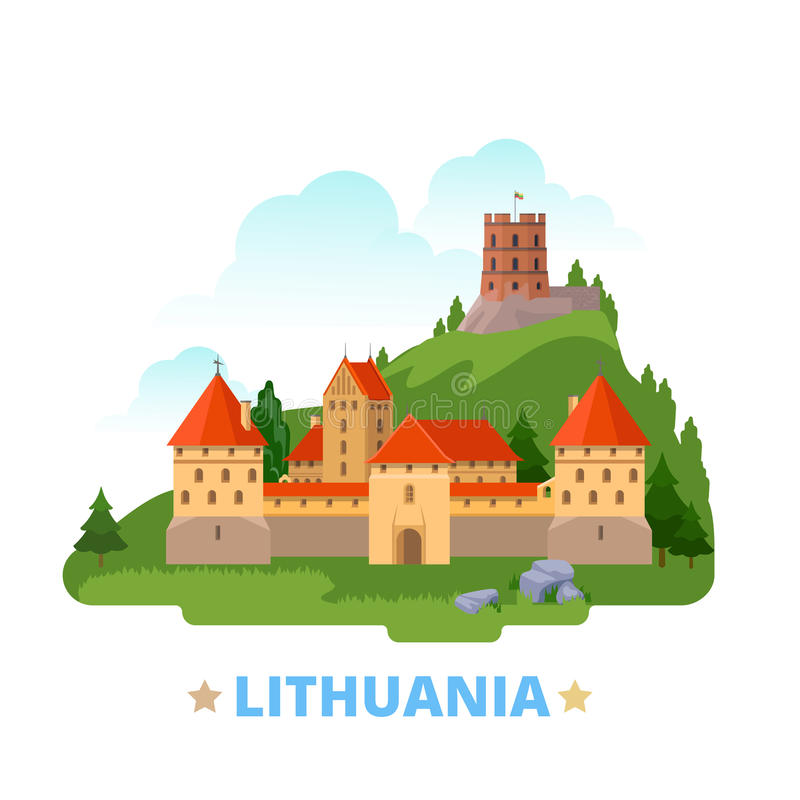 Free Lithuania Country Design Template Flat Cartoon Sty Royalty Free Stock Image - 73370636
