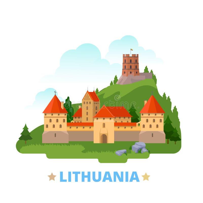 Lithuania country design template Flat cartoon sty. Lithuania country magnet design template. Flat cartoon style historic sight showplace web vector illustration vector illustration