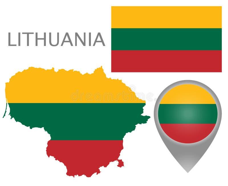 Lithuania flaga, mapa i mapa pointer, ilustracji