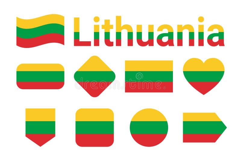 Lithuania flaga wektoru kolekcja Set Litewskie flaga państowowa Mieszkanie odosobnione ikony, tradycyjni kolory ilustracja Sieć,  royalty ilustracja
