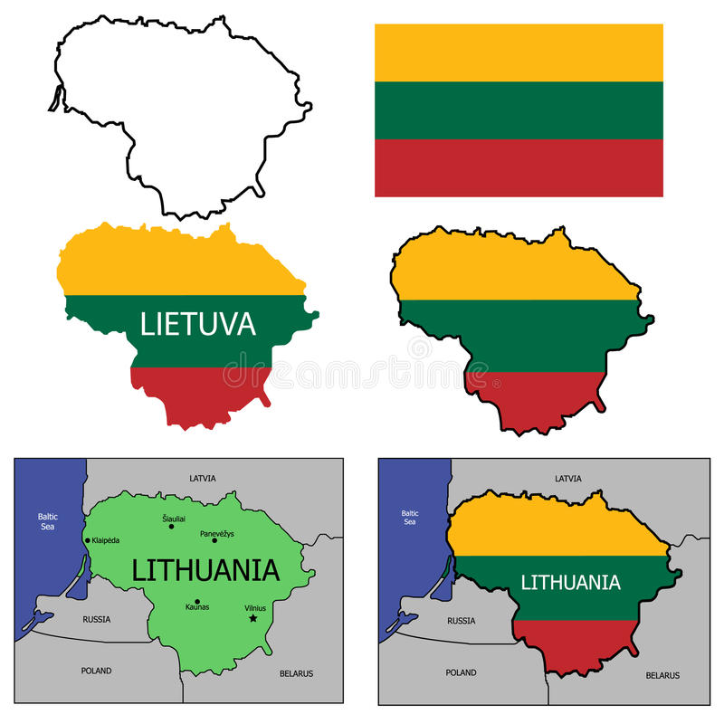 Lithuania illustration set. Lithuania country map with borders. Contours with national flag colors. Flag and outline royalty free illustration