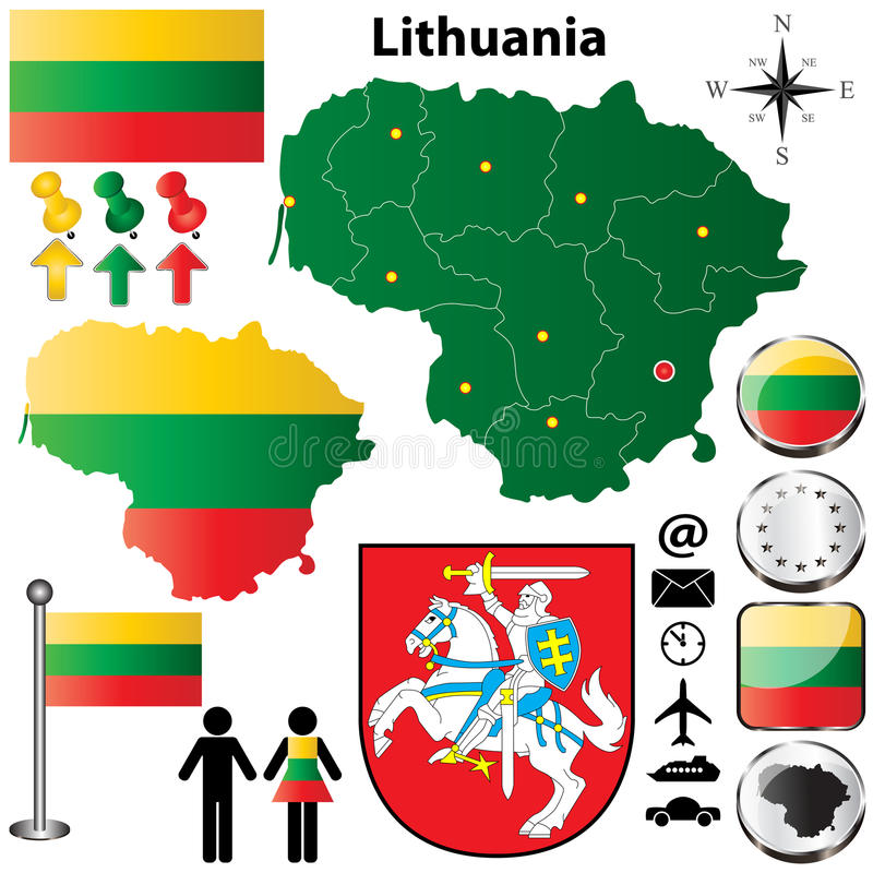 Download Lithuania map stock photo. Image of administrative, silhouette - 28760762