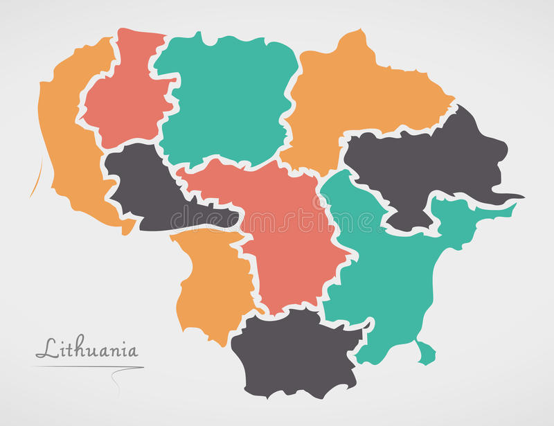 Lithuania Map with states and modern round shapes. Illustration royalty free illustration