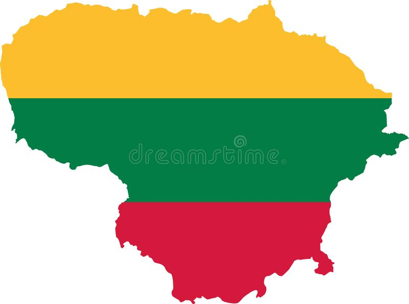 Lithuania mapa z flaga royalty ilustracja