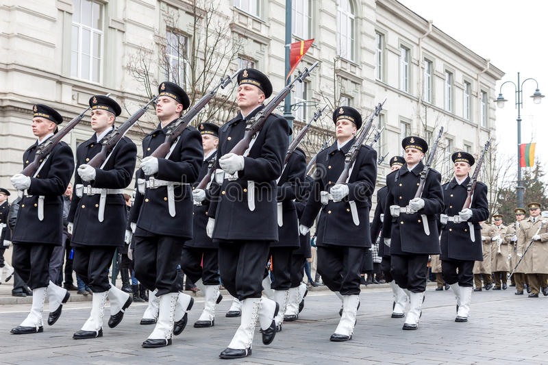 Lithuania Marine Corps marching. Vilnius, Lithuania - March 11, 2015: Lithuania Marine Corps marching at Independence Day Parade in Vilnius, capital of Lithuania royalty free stock photos