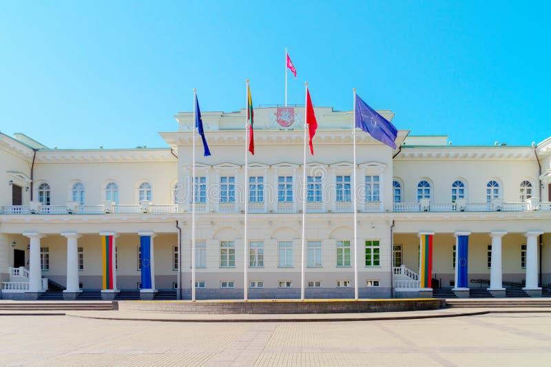 lithuania oficjalnego pa?ac prezydent prezydencka siedziby czas Vilnius zima zdjęcie stock