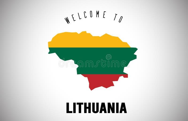 Lithuania powitanie teksta i kraju flaga wśrodku kraj granicy mapy Wektorowego projekta ilustracja wektor