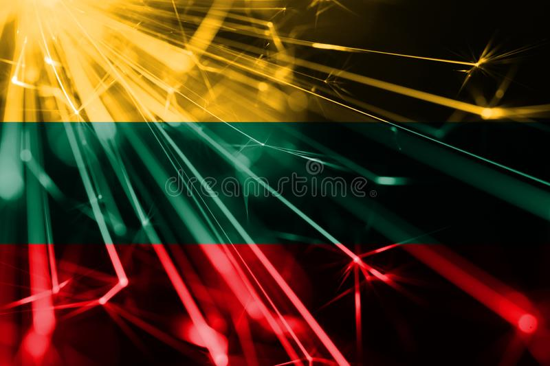 Lithuania shining fireworks sparkling flag. New Year 2019 and Christmas futuristic shiny party concept flag. Lithuania shining fireworks sparkling flag. New royalty free illustration