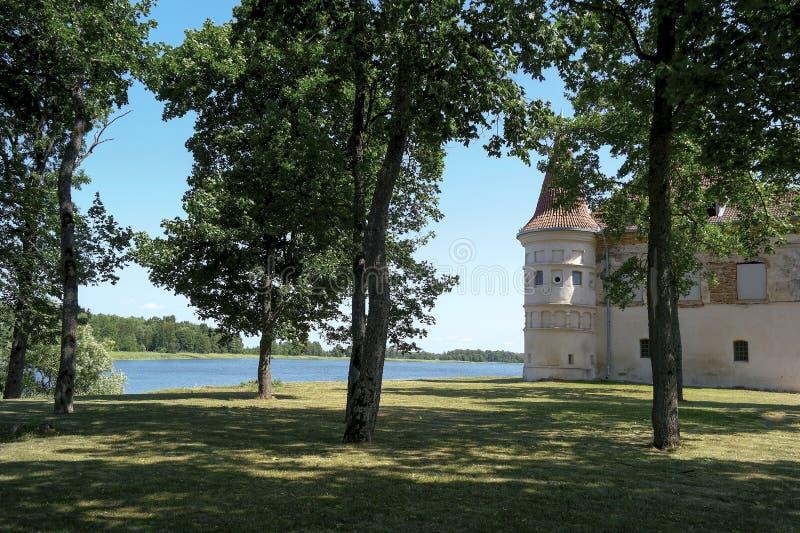 lithuania Siesikai slott under konstruktion Historisk slott i Neoclassicaen arkivbild