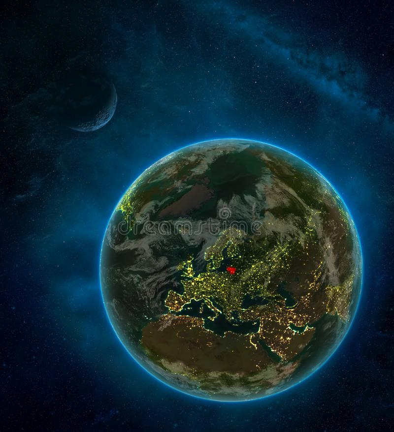 Lithuania from space on Earth at night surrounded by space with Moon and Milky Way. Detailed planet with city lights and clouds. 3D illustration. Elements of royalty free illustration