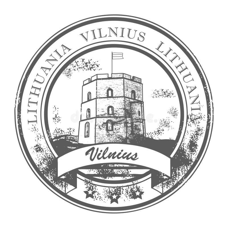 lithuania stämpel vilnius stock illustrationer