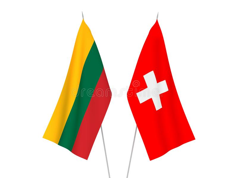 Lithuania and Switzerland flags. National fabric flags of Lithuania and Switzerland isolated on white background. 3d rendering illustration vector illustration