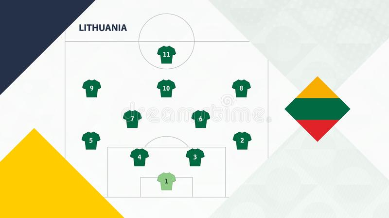 Lithuania team preferred system formation 4-2-3-1, Lithuania football team background for European soccer competition.  vector illustration