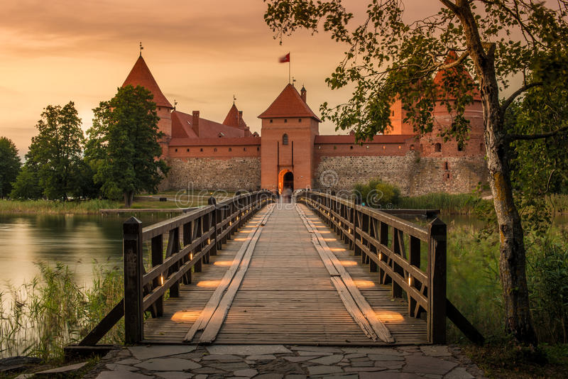 Lithuania: Trakai island castle. Trakai Island Castle in Lithuania next to Vilnius. Landmark in historical capital city of Grand Duchy of Lithuania, located in royalty free stock images