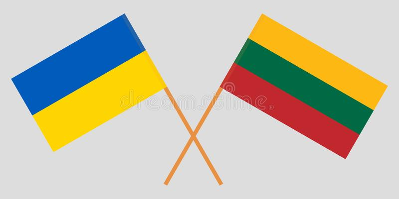 Lithuania and Ukraine. The Lithuanian and Ukrainian flags. Official colors. Correct proportion. Vector. Illustration stock illustration