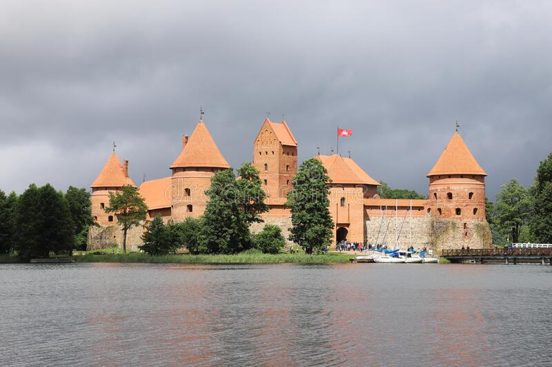 LITHUANIA, VILNIUS COUNTY, TRAKAI - JULY 03, 2018: Beautiful situated is Trakai Island Castle in the Lake GalvÄ—. Scene in Lithuania on a day in July 2018 royalty free stock image