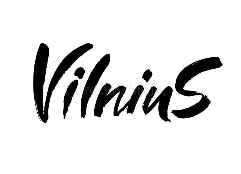 lithuania vilnius Huvudstadstypografibokstäver som isoleras på den vita bakgrunden Hand calligraphic dragen borste royaltyfri illustrationer
