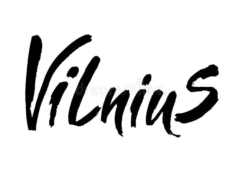lithuania vilnius Huvudstadstypografibokstäver som isoleras på den vita bakgrunden Hand calligraphic dragen borste stock illustrationer