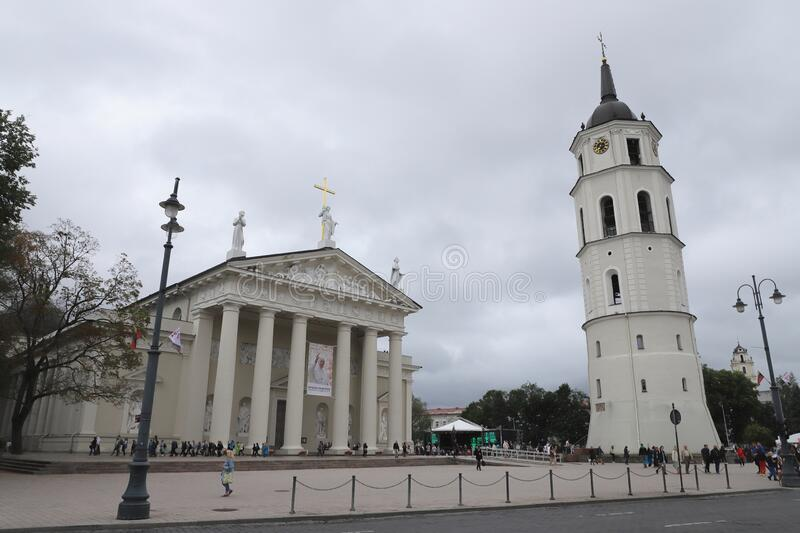 LITHUANIA, VILNIUS - JULY 03, 2018: Cathedral Basilica of St Stanislaus and St Ladislaus with bell tower inVilnius. Scene in Lithuania on a day in July 2018 stock images