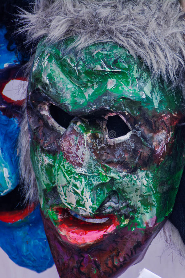 2017-02-25 Lithuania, Vilnius, Shrovetide, mask for carnival, february carnival, green masks evil mask. royalty free stock images