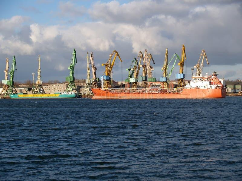 lithuania Vista del porto marittimo di Klaipeda fotografia stock