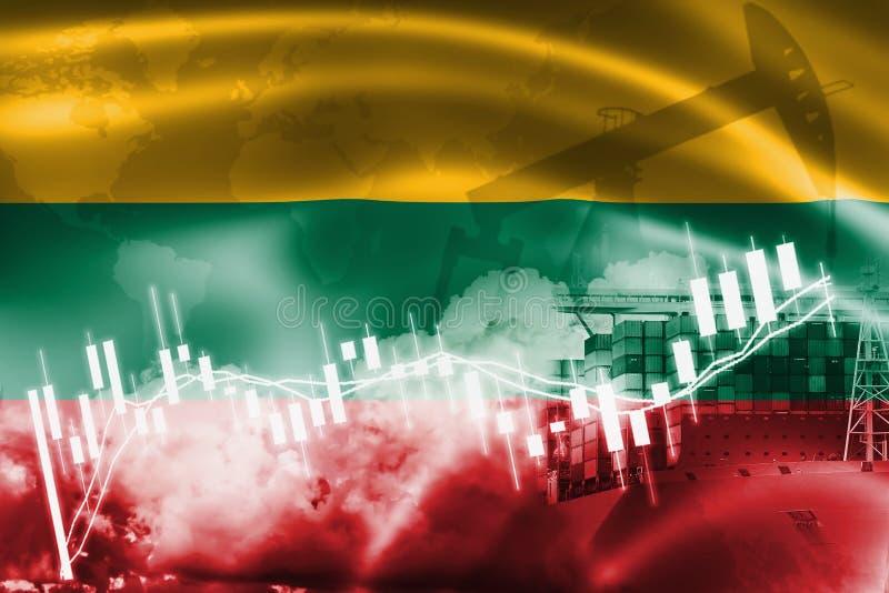 Lithuania zaznacza, rynek papierów wartościowych, wekslowa gospodarka i handel, produkcja ropy naftowej, zbiornika statek w ekspo royalty ilustracja