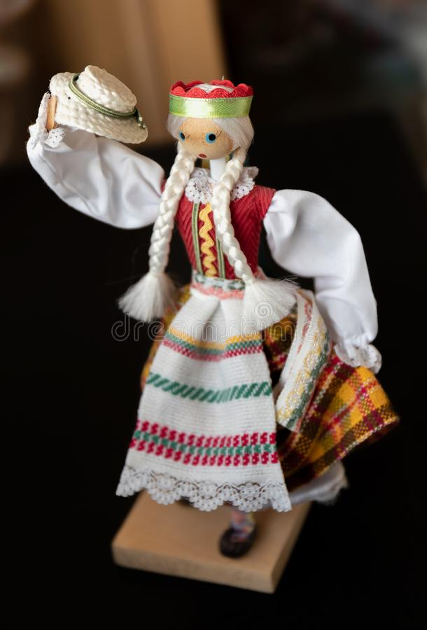 Lithuanian doll in traditional costume stock photo