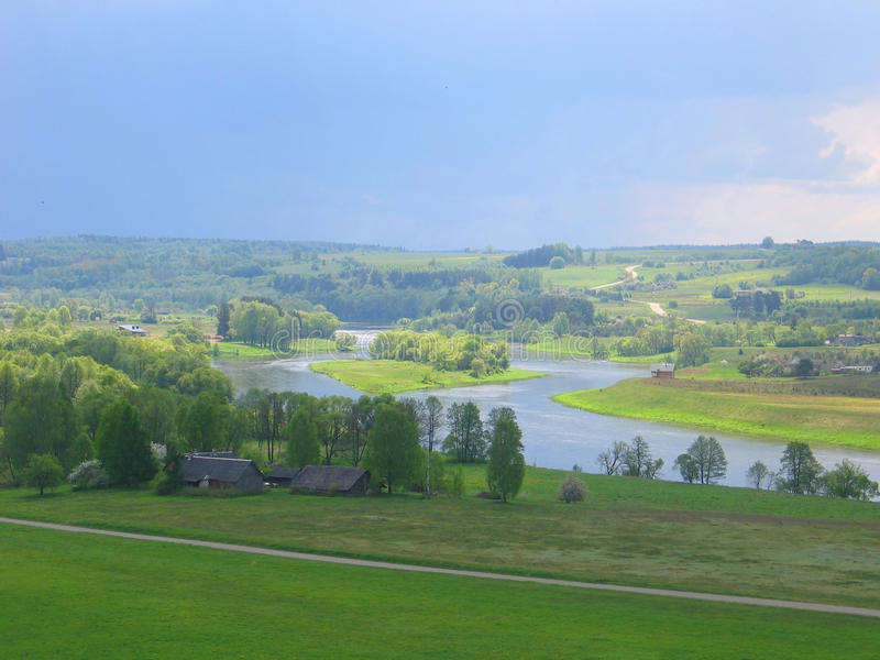 Lithuanian landscape in Kernave stock photo