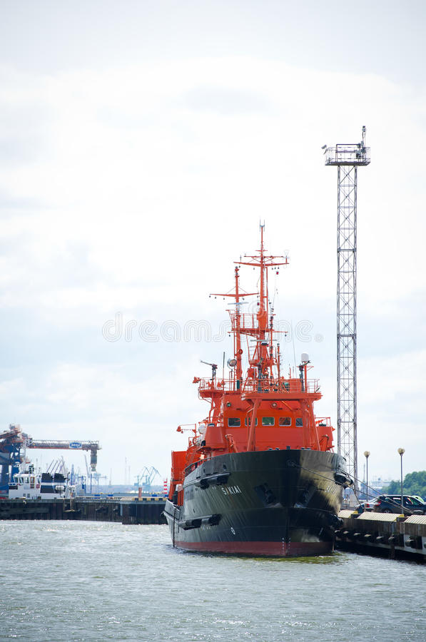 Lithuanian Naval Force Search and Rescue (SAR) ship 'SAKIAI'. KLAIPEDA - JUNE 1: Lithuanian Naval Force Search and Rescue (SAR) ship 'SAKIAI' in Klaipeda Harbour stock photography